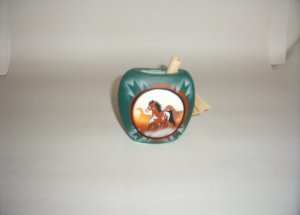America Wild Coll. -Horse Green & Brown Flat Vase 60-0006