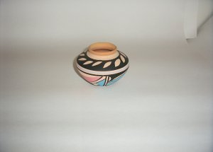 Pottery- Clay painted w/ pink & blue designsBowl 60-0033