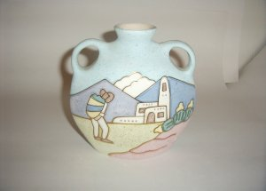 Pottery- Mexican by R Gonza in Pastels2 Handle Jug 60-0034