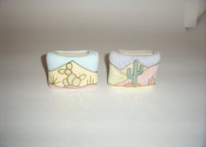 Pottery- Mexican by R Gonza in Pastels Flat Vase 60-0036