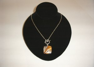Sterling Silver  Wavy Tiger-eye Necklace 30-0032