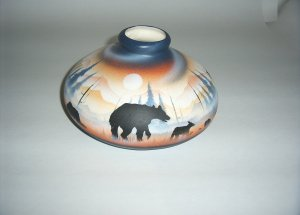 American Frontier Bear Jug - blue & orange - med  60-0021