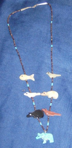 Mini Necklace-Turquoise Grizzly Bear Bottom