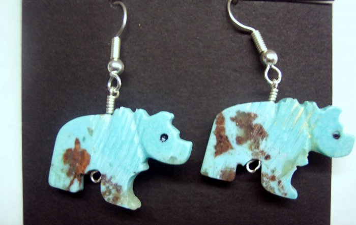 Grizzly Bear Twist Earrings-Turquoise