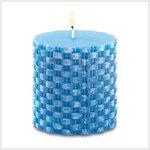island blue basket weave candle