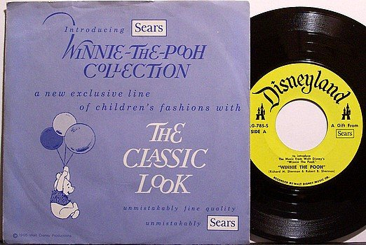 Winnie The Pooh - Sears Advertising - Vinyl 45 Record + Picture Sleeve - Sterling Holloway - Kids