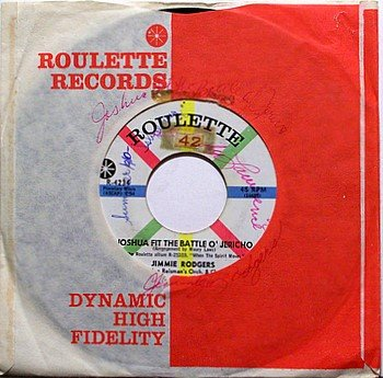 Rodgers, Jimmie - Joshua Fit The Battle Of Jericho - Vinyl 45 Record on Roulette - Gospel