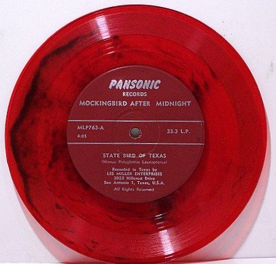 "Mockingbird After Midnight - State Bird Of Texas - Red Colored Vinyl - 7"" Record - Odd Unusual"