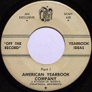 American Yearbook Company - Staff Ideas Part 1 / Part 2 - Vinyl 45 Record - Odd Unusual