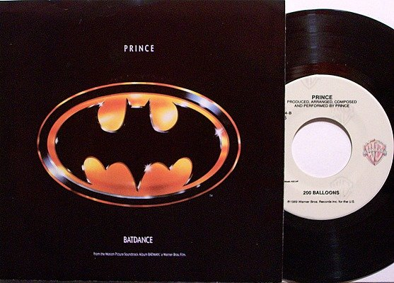 Prince - Batdance / 200 Balloons - Vinyl 45 Record + Picture Sleeve - R&B Soul Funk