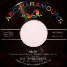 Impressions, The - Amen / Long Long Winter - Vinyl 45 Record on ABC Paramount - R&B Soul