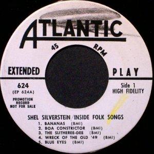 "Silverstein, Shel - Inside Folk Songs - Promo 7"" EP - Vinyl 45 Record - Folk"