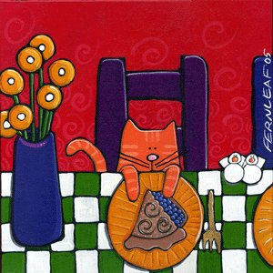 Cat, Blueberry Pie* Ceramic Folk Art Tile* Fernleaf