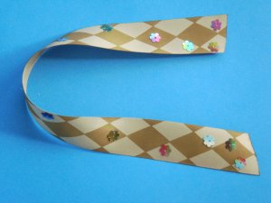 FLOWER PATH - Brown and Cream Harlequin Satin Ribbon Bookmark with Colorful Sequin Embelishments