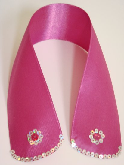 Hot Pink Satin Ribbon Bookmark with Hologram Sequin Edge and Flower