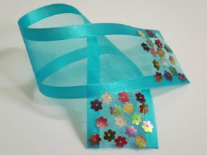 Turquoise Blue Organza Ribbon Bookmark with Colorful Flower Sequin