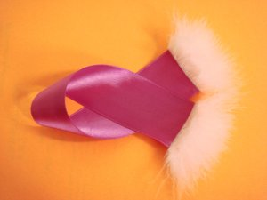 Fushia Satin Ribbon Bookmark with Marabou Trim - Hot Pink