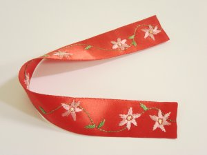 Red Satin Ribbon Bookmark with Pink Flower Embroidery  Handcrafted Item