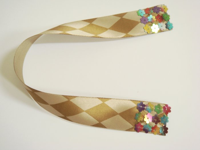 Brown and Cream Harlequin Satin Ribbon Bookmark Edged with Colorful Flower Sequin