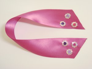 Hot Pink Satin Ribbon Bookmark with Hologram Sequin Flowers