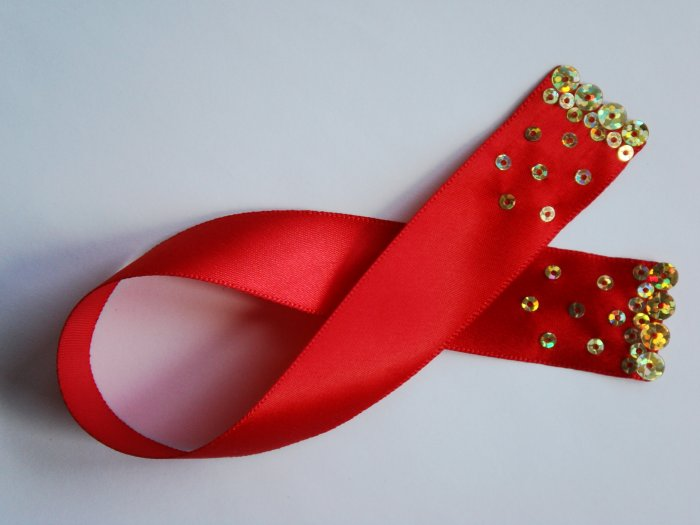 Red Satin Ribbon Bookmark with Hologram Sequin Design