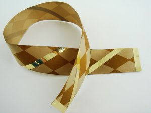Brown and Cream Harlequin Satin Ribbon Bookmark Edged and Accented with Gold Color Ribbon