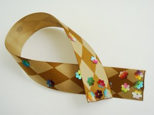 Brown and Cream Harlequin Satin Ribbon Bookmark with Colorful Sequin Embelishments Glued on