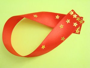 Red Satin Ribbon Bookmark with Star Shaped Sequin Glued on