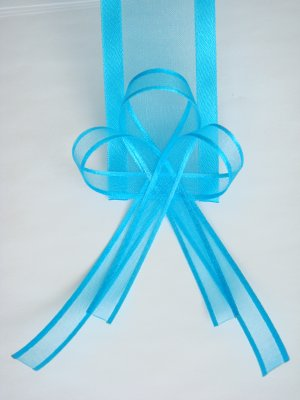 Turquoise Blue Organza Ribbon Bookmark with Ribbon Bows model 2