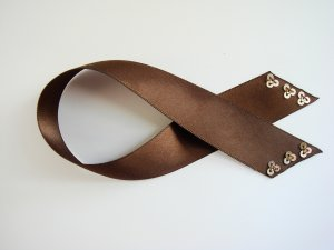 Brown Satin Ribbon Bookmark with Sequin Trim