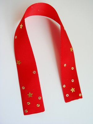 RED FLICKER - Red Satin Ribbon Bookmark with Sequin Accent