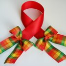 Red Satin Bookmark with Colorful Ribbon Bows