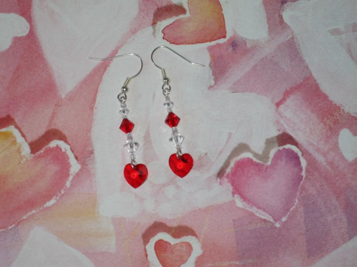 Red Hot Love Swarovski Crystals Heart Earrings