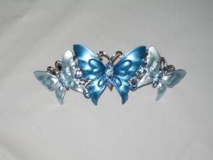Rhinestone Studded Blue Butterflies Hair Barrette