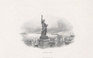 Statue of Liberty Vignette Engraving