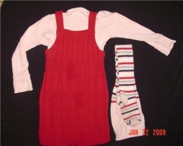 GYMBOREE~SCHOOL GIRL ROCK ~SWEATER DRESS~5~TIGHTS~8-10