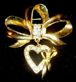 ribbon with dropped heart and rhinestones, vintage