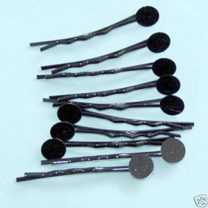 100 Pieces of Black Metal Bobby Pins with 8mm Pad