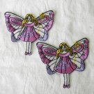 4 Pieces of Butterfly Girl Embroidered Iron on Patches