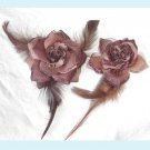 One Set of Brown Silk Rose Hair Clip And Brooch
