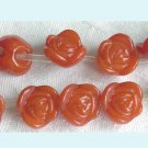 10 Pieces of Carved Pumpkin Red Rose Beads Free Shipping