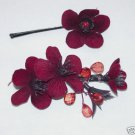 One Set of Hand Made Burgundy Cherry Blossom Hair Pins