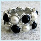 Black & White Faux Pearls 2 Strands Stretch Bracelet Free Shipping