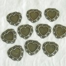 10 Pieces of Antiqued Bronze Filigree Heart Cameos Base Free Shipping