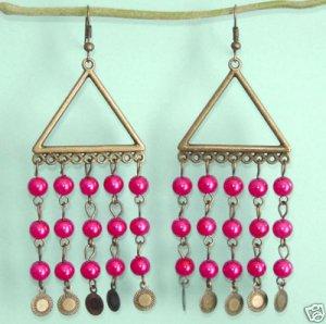 Dangling Brass Triangle Chandelier Pink Earrings Free Shipping