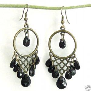 Dangling Antiqued Bronze Lace Chandelier Black Earrings Free Shipping