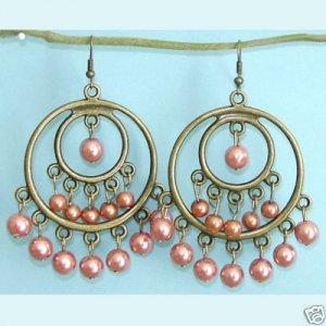 Dangling Brass Double Rings Orange Earrings Free Shipping
