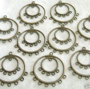 10 Pcs Brass Double Rings Chandelier Earring Findings Free Shipping