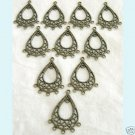 10 Pieces of  Antique Bronze Teardrop Chandelier Earring Free Shipping