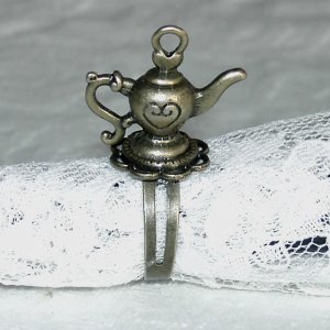 Stella Handcrafted Antiqued Brass Teapot Ring Free Shipping
